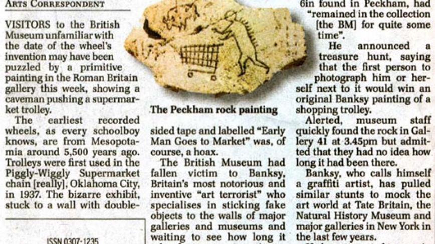 Visual of Banksy's Shoppingcart Caveman