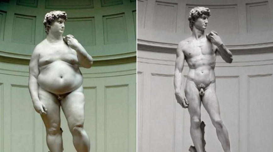 Visual of Michelangelo's David After his Stay in the US