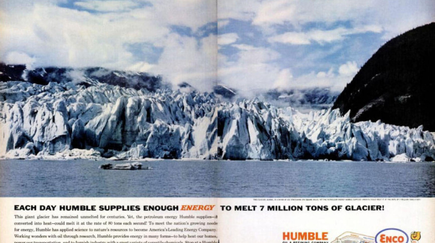 Visual of 1962 Oil Company Advertisement boasts about ability to Melt Glaciers