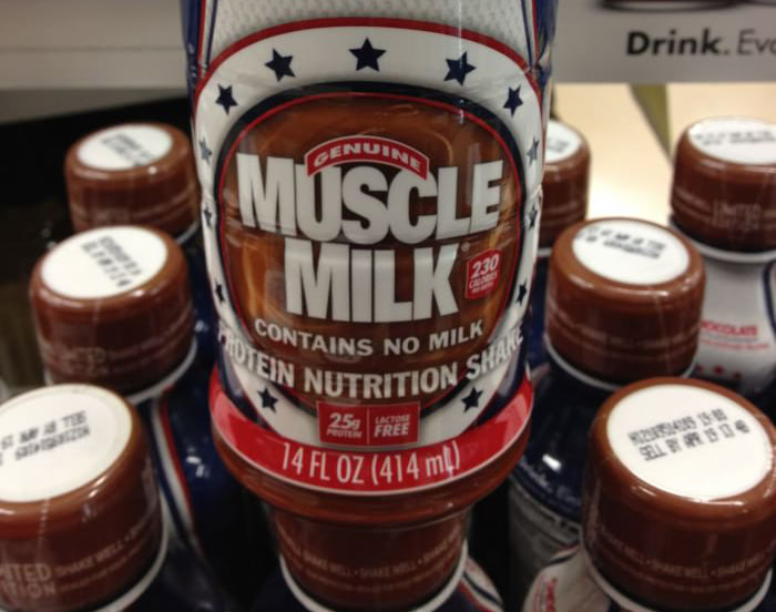 Visual of Muscle Milk. Contains No Milk.
