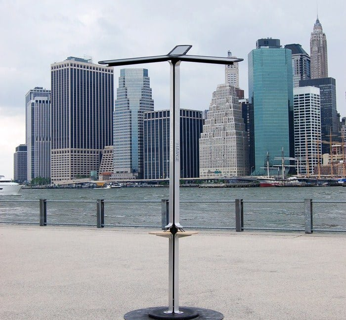 Visual of Free Solar Chargers in the Streets of NY