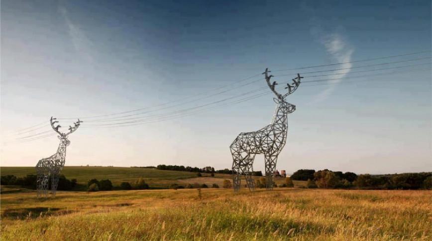 Visual of Herds of Deer-Shaped Power Lines