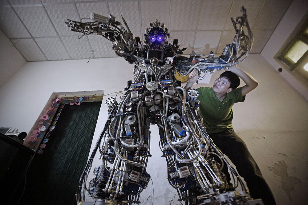 Visual of Homemade Robot Designed from Recycled Scraps