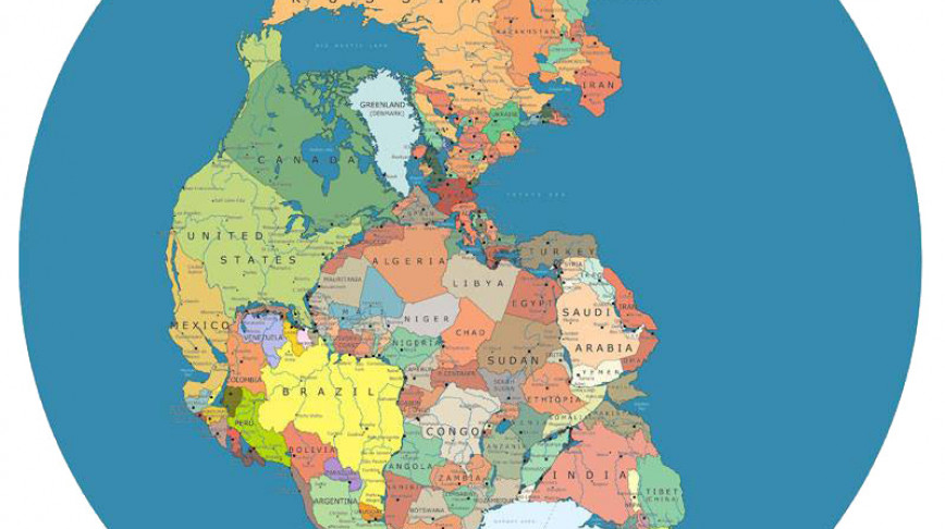 Visual of Modern Countries Mapped on Pangea