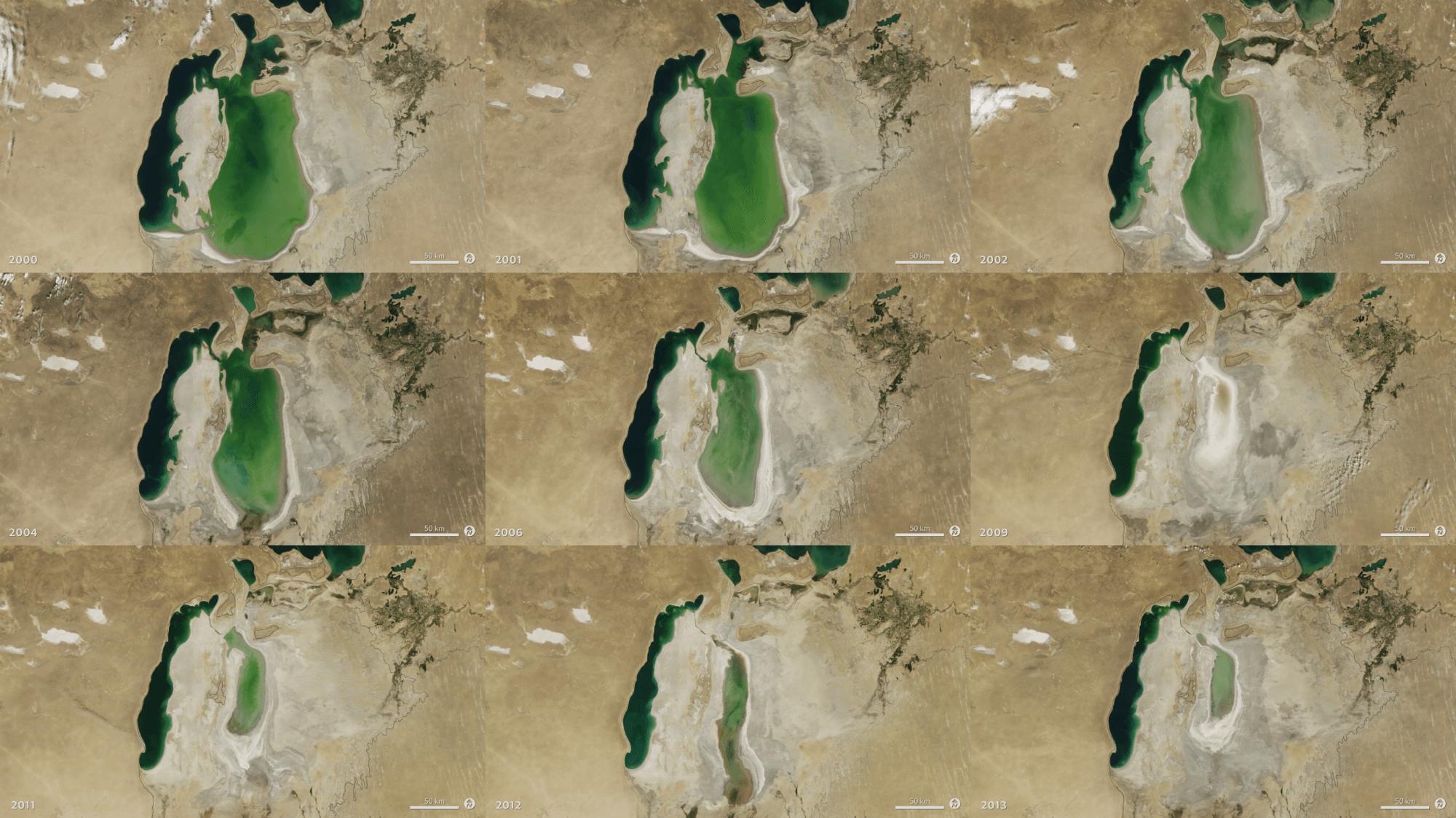 Visual of Anthropocene: the Shrinking of Aral Sea