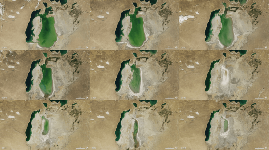 Visual of Anthropocene: the Shrinking of Aral Sea
