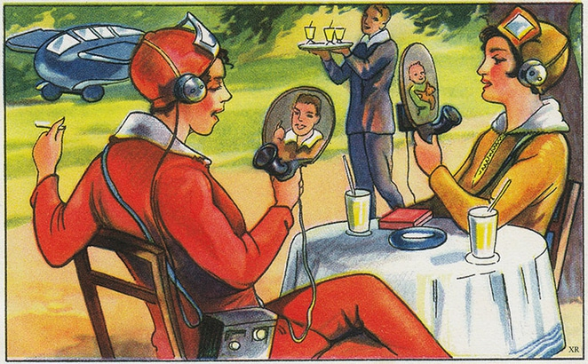 Visual of Retro-Futuristic Society of Simulations