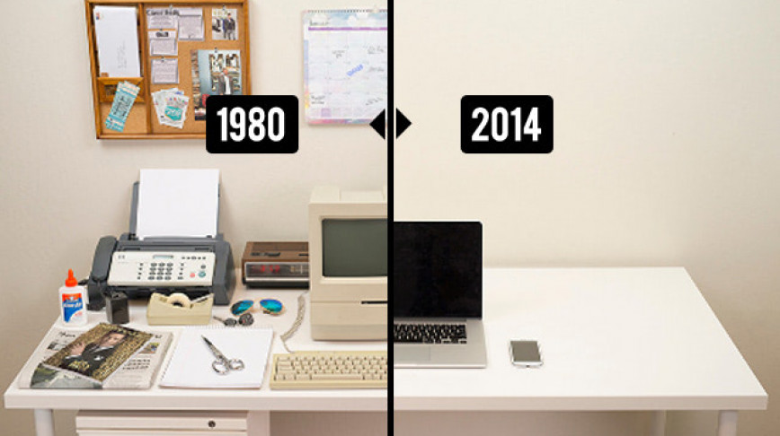 Visual of The Evolution Of The Desk 1980 - 2014