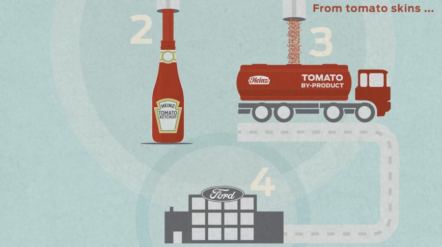 Visual of Using Tomato Skins to Make Car Parts