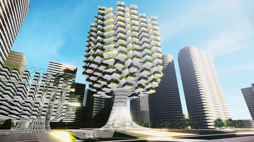 Visual of Vertical Farms Growing In Giant Trees