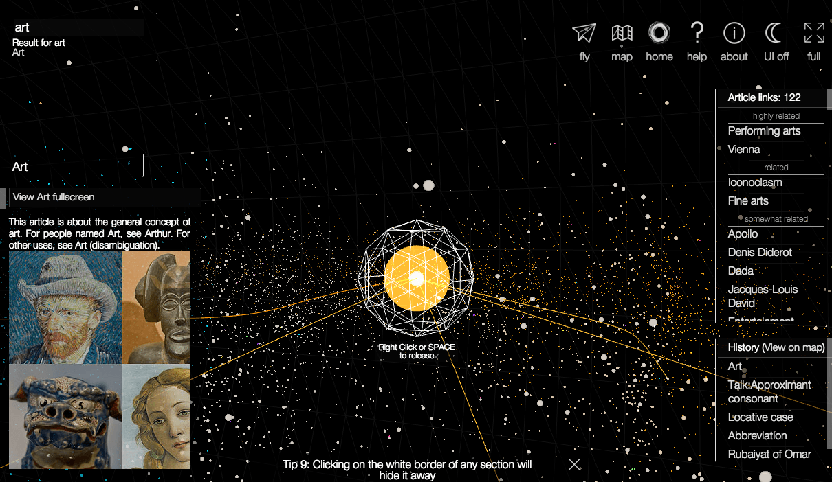 Visual of WikiGalaxy