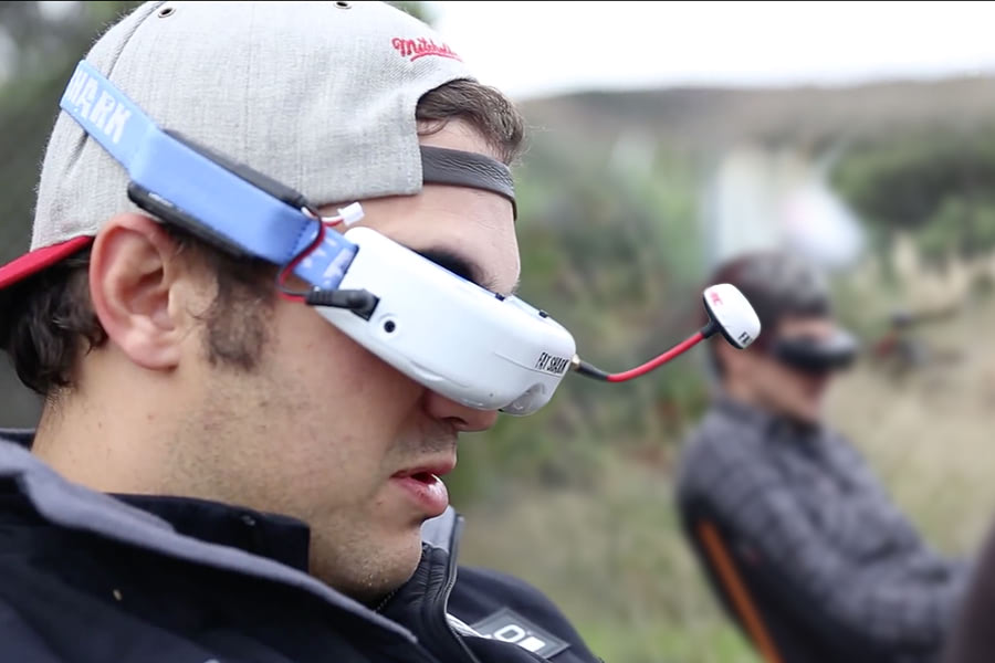 Visual of Drone Racing in First Person View
