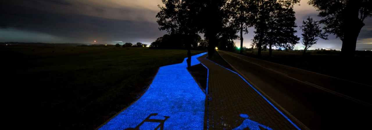 Visual of Luminous Bike Lane Opened in Poland