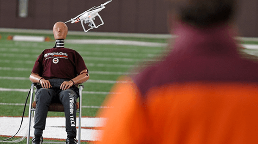 Visual of Drone Hits Crash Test Dummy for Your Safety