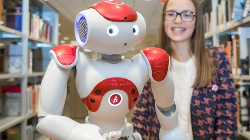 Visual of Robot Librarians Instruct Young Generations
