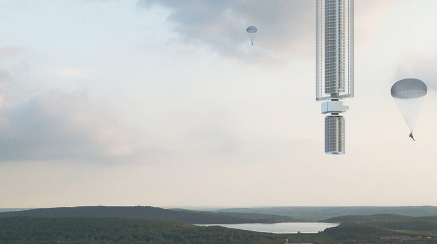 Visual of Skyscraper Hanging from the Sky