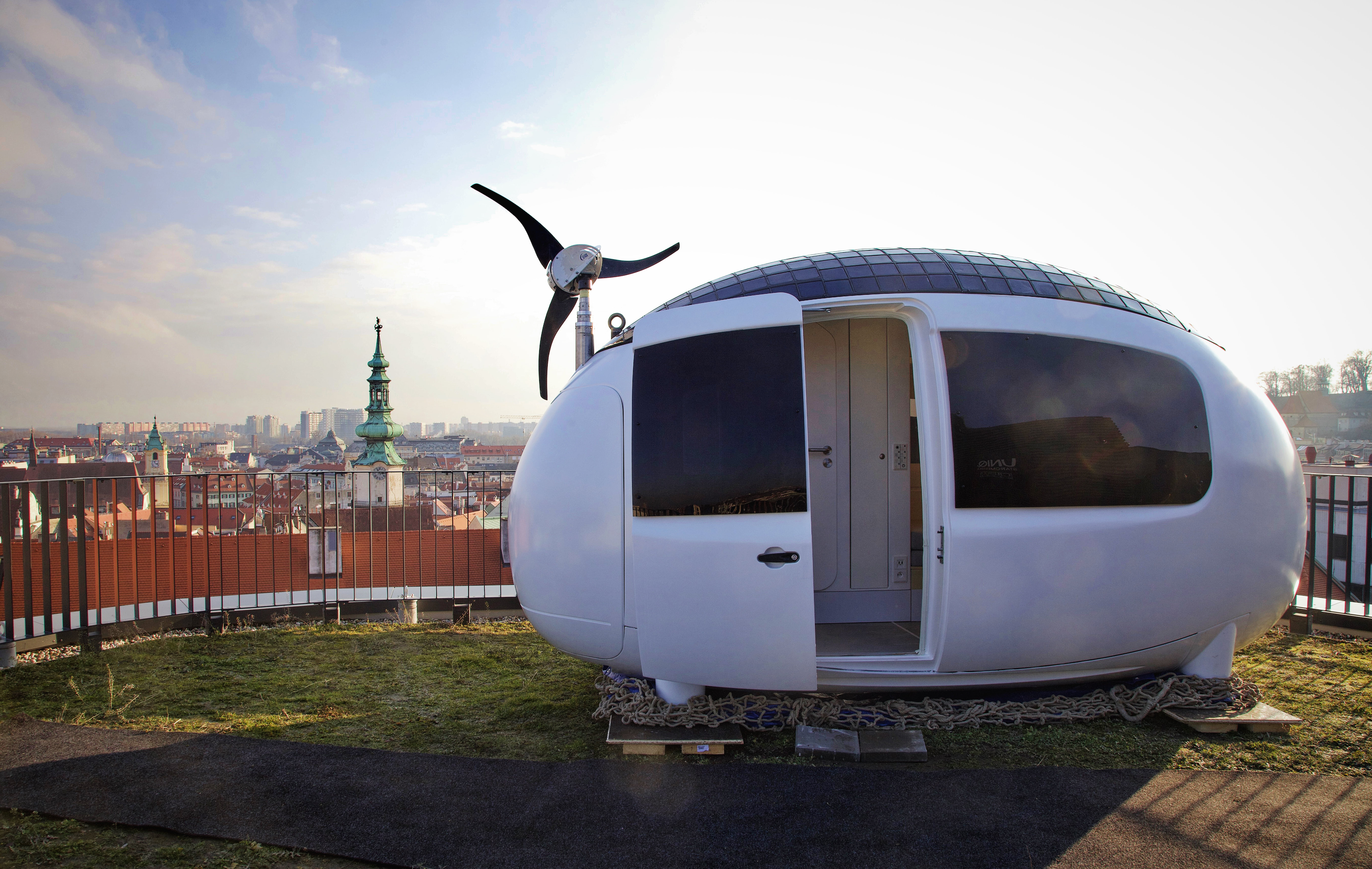 Ecocapsule on the roof of UNIQ building in Bratislava.