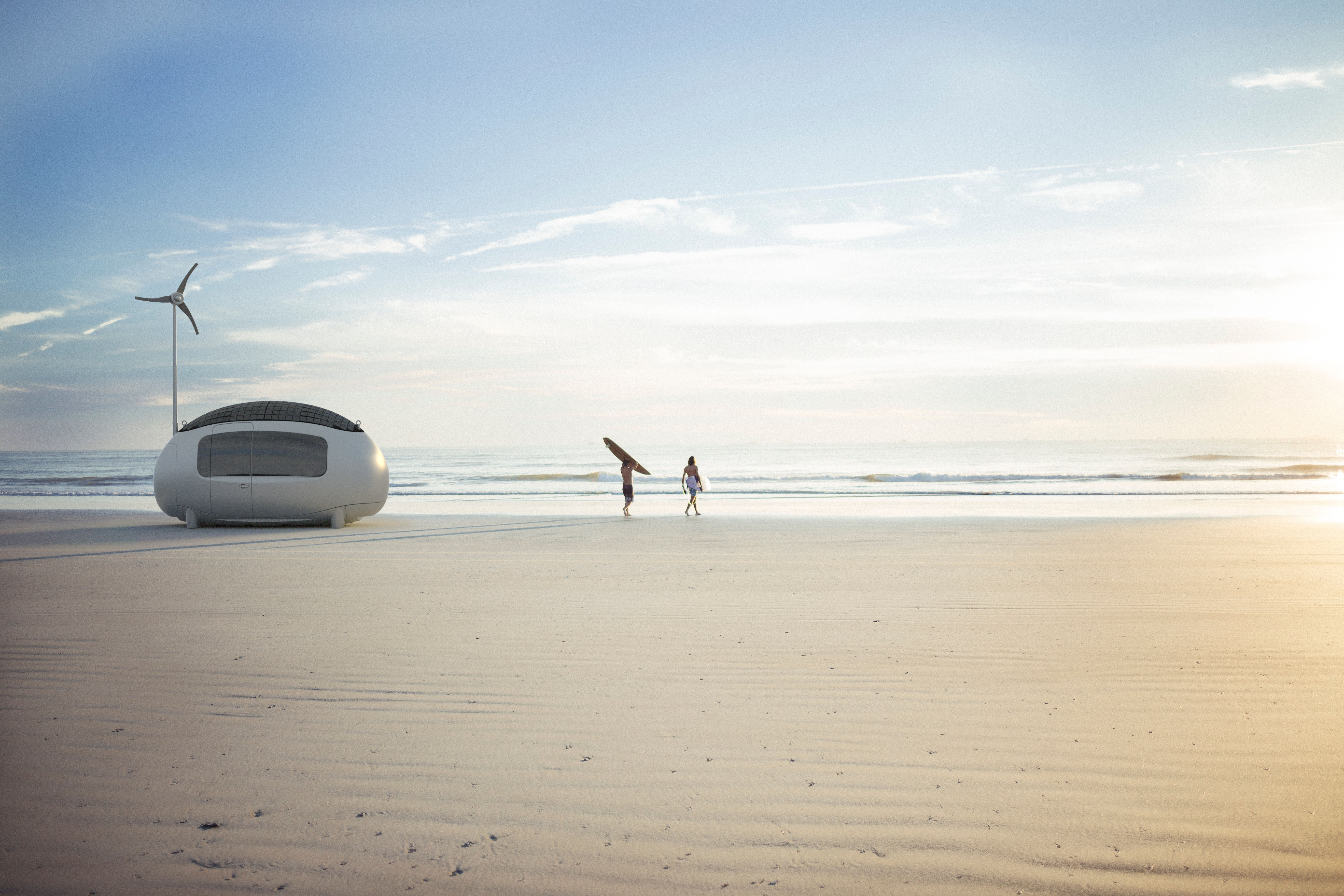 Ecocapsule owners on their way to surf.