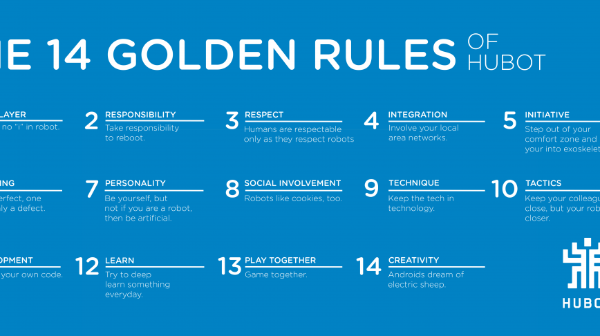 Visual of Our 14 Golden Rules of working with a robot
