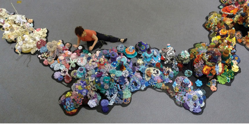 Reef crocheted from plastic bags